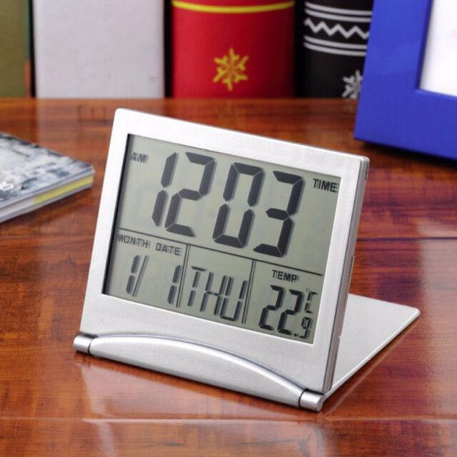 Home Digital LCD Screen Travel Alarm Clocks Desk Thermometer Timer Calendar AU#