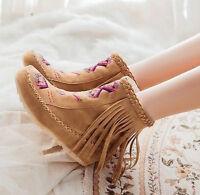 Womens round toe flat warm Hidden Heel Tassels Fringe ankle Boots suede Shoes