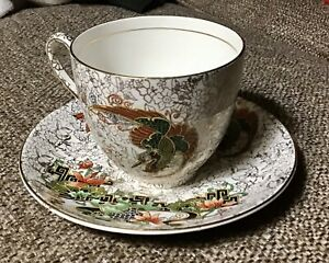 Phoenix Ware Cup And Saucer T.F. & Sons Ltd. - Gold And White