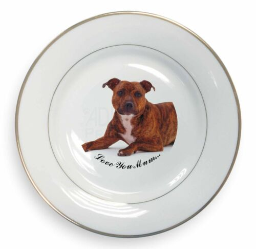 Staffordshire Bull Terrier 'Love You Mum' Gold Rim Plate in Gift , ADSBT10lymPL