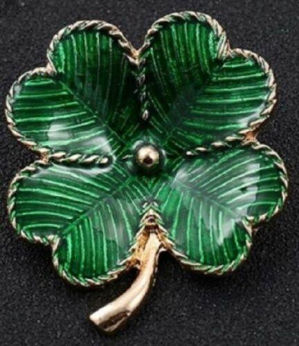 Larger Green Crystal Four Leaf Clover Shamrock Brooch 4 Irish Gold Lapel Pin IRL
