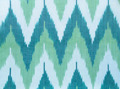 Genuine, Hand-Woven, Ikat, Drapery, Cotton Fabric. Green, Hand-Dyed Homespun