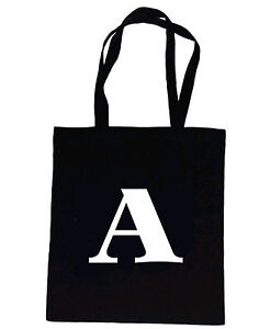 ac68e7ade Image is loading Alphabet-Initial-Letter-A-Z-Personalised-Natural- Cotton-Black-