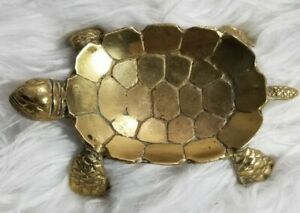 Vintage-Brass-Sea-Turtle-Animal-Coin-Tray-Trinket-Candy-Dish-Ashtray