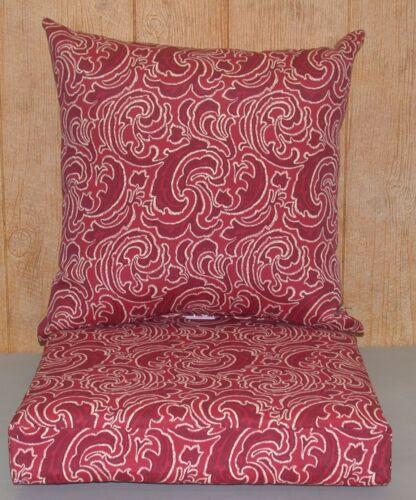 21x21x5 **NEW ** Outdoor Deep Seat Cushion Set ~ Borgello Paisley ~ 22x22x9