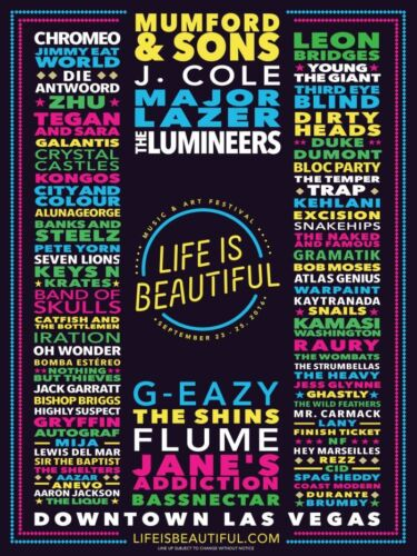 Multiple Sizes LIFE IS BEAUTIFUL MUSIC FESTIVAL 2016 Poster Concert Lineup