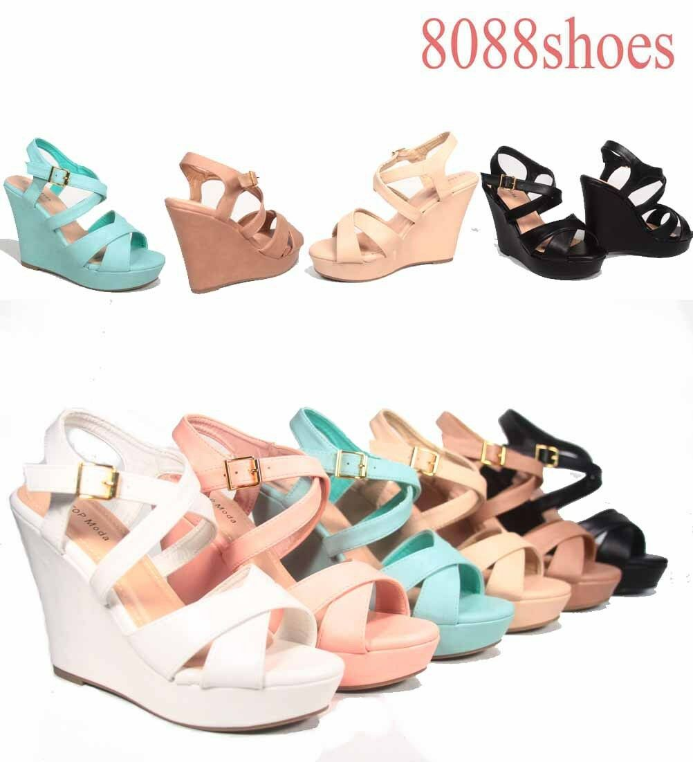 Women's Fashion Criss Cross Sandal Strappy Open Toe Wedge Sandal Cross Shoes Size 6 - 10 NEW 598e6b