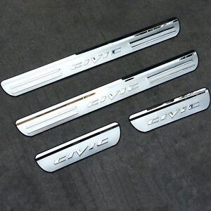 4x-Battitacco-cromato-protezione-porta-acciaio-batti-tacco-auto-Honda-Civic