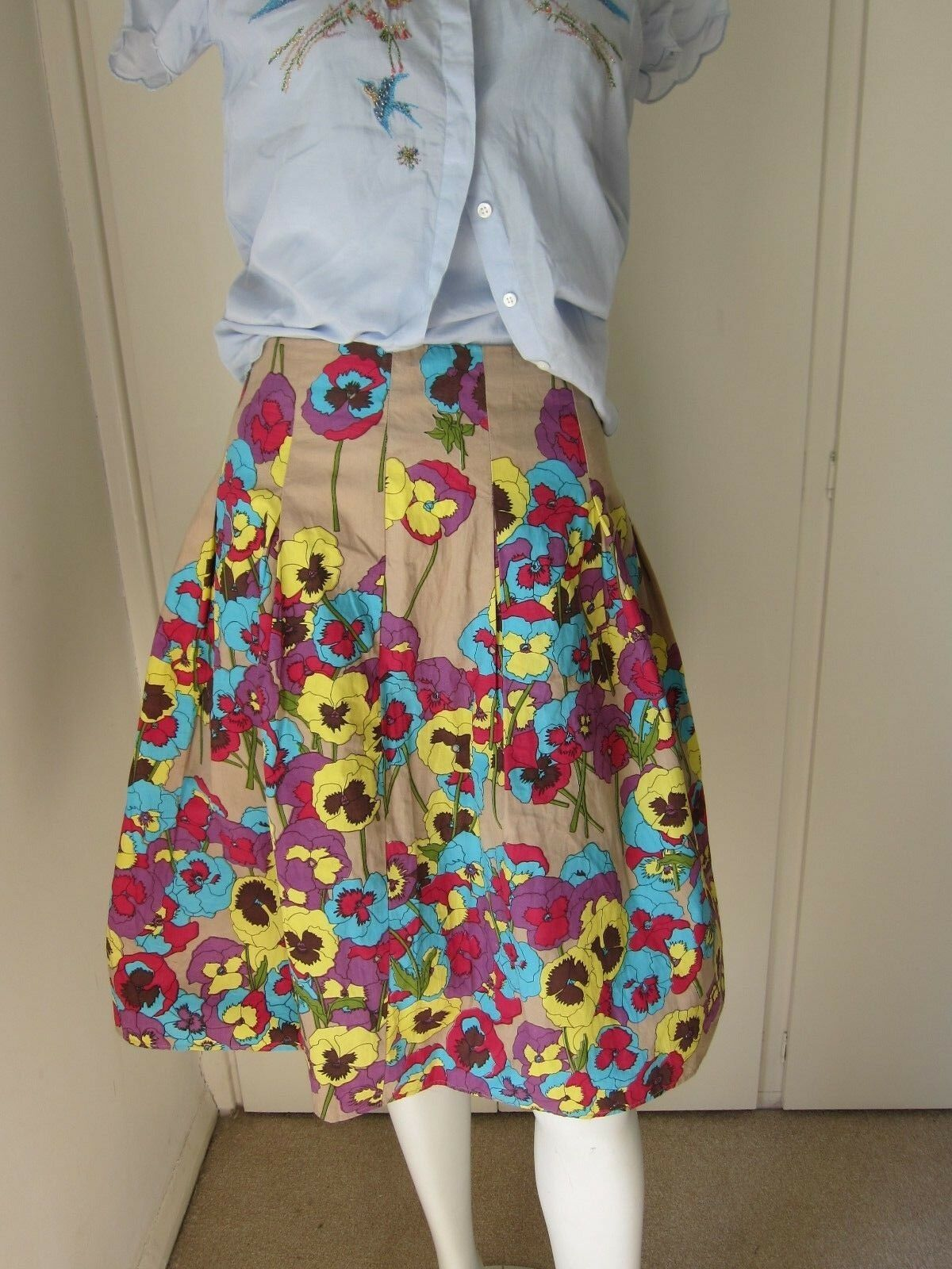 Nougat London Floral 100% Fawn Cotton Flared Summer Skirt Size 16 RRP