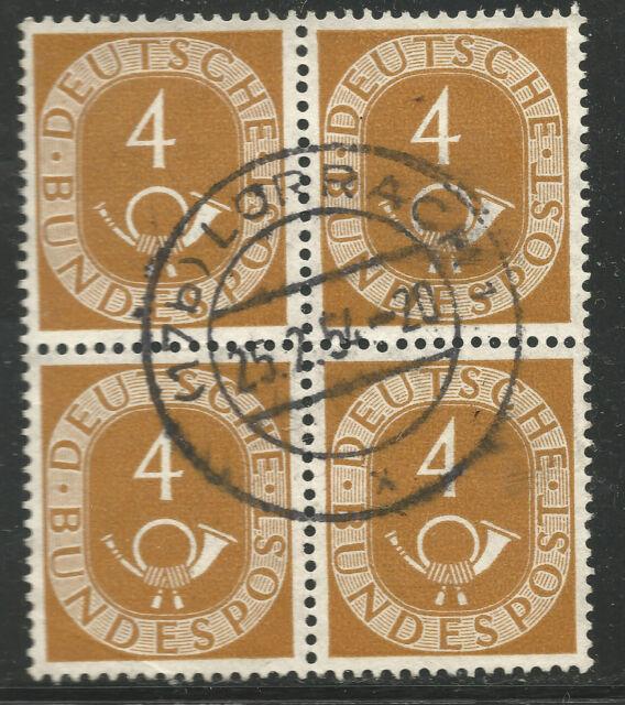 Deutschland MiNr. 124 ° Posthorn 4er Block mit Vollstempel 17b Lörrach 1 25.2.54