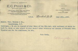 1893 Dunkirk New York (NY) Letter E. C. Perry & CO. Theo Perkins E.C. Perry