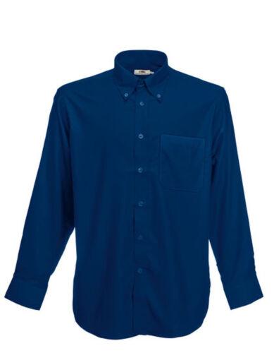 FRUIT of The Loom Uomo Camicia Manica Lunga Oxford S M L XL XXL 3xl misure grandi
