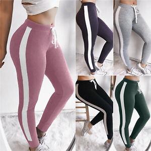Women-Casual-Jogger-Striped-Harem-Sport-Pants-Slacks-Trousers-Sweatpant-Jogging