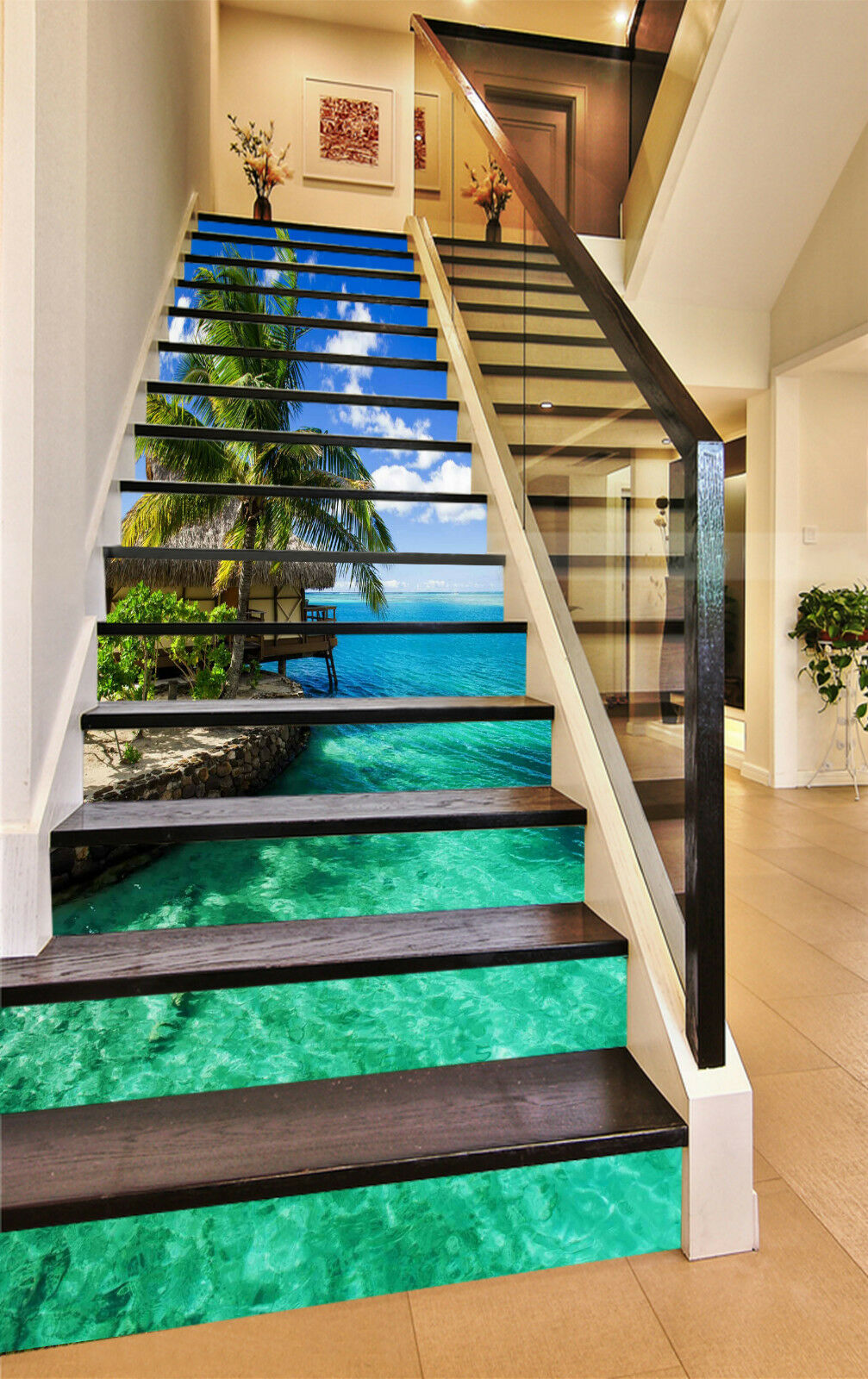 3D Klares Meer 8311 Stair Risers Dekoration Fototapete Vinyl Aufkleber Tapete DE