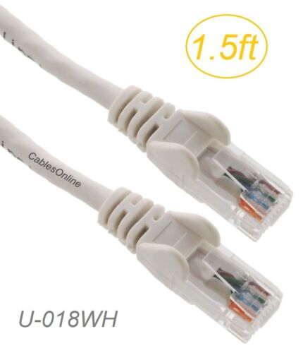 White 1.5ft Cat5e UTP RJ45 Copper Ethernet Patch Cable w//Snag-less Molded Boots