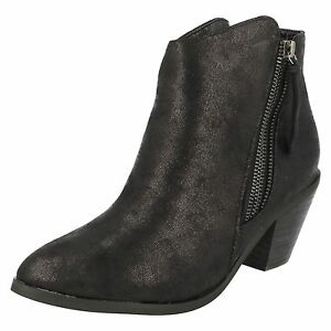 cc41a6f9b6 Details about Spot On F50450 Black Distressed Effect Synthetic Ankle Boots