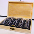 Coins Display Storage Box Wooden Case & 50x Round Boxes for Slab Certified Coin