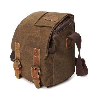 Canvas+Leather DSLR Camera Bag Shoulder Messenger Bag Handbag For Canon Brown