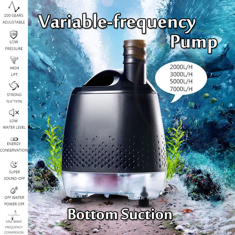 24V Submersible Bottom Suction Water Pump Variable Frequency Aquarium  US