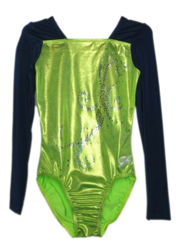 AXS Adult Extra Small 4088 GK Elite Sequined Lime Mystique Gymnastics Leotard