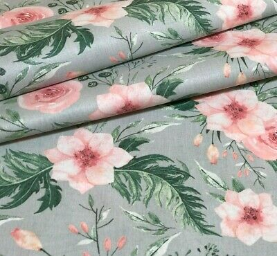 NEW DESIGN ROSES TWIG DUSKY PINK  ON WHITE FLORAL 100/% COTTON FABRIC