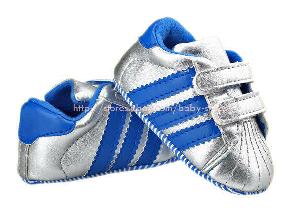Toddler Baby Boy Girl Silver Stripe Crib Shoes Sneakers Size Newborn to 18 Month