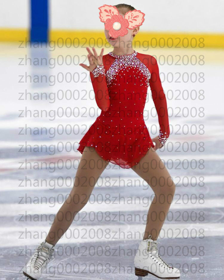 Ice skating dress.red Competition Figure Skating dress. Baton Twirling Costume