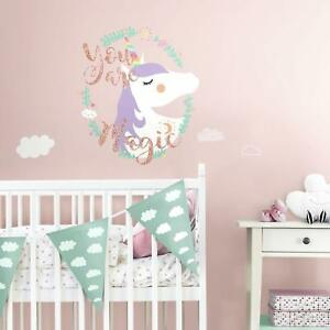 UNICORN-YOU-ARE-MAGIC-Wall-Decals-Glittery-Room-Stickers-Nursery-Fairytale-Decor