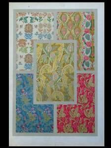 MotivéE Tissus Grenades Fleurs 17e - Lithographie 1877 Dupont-auberville, Ornementation Beau Travail