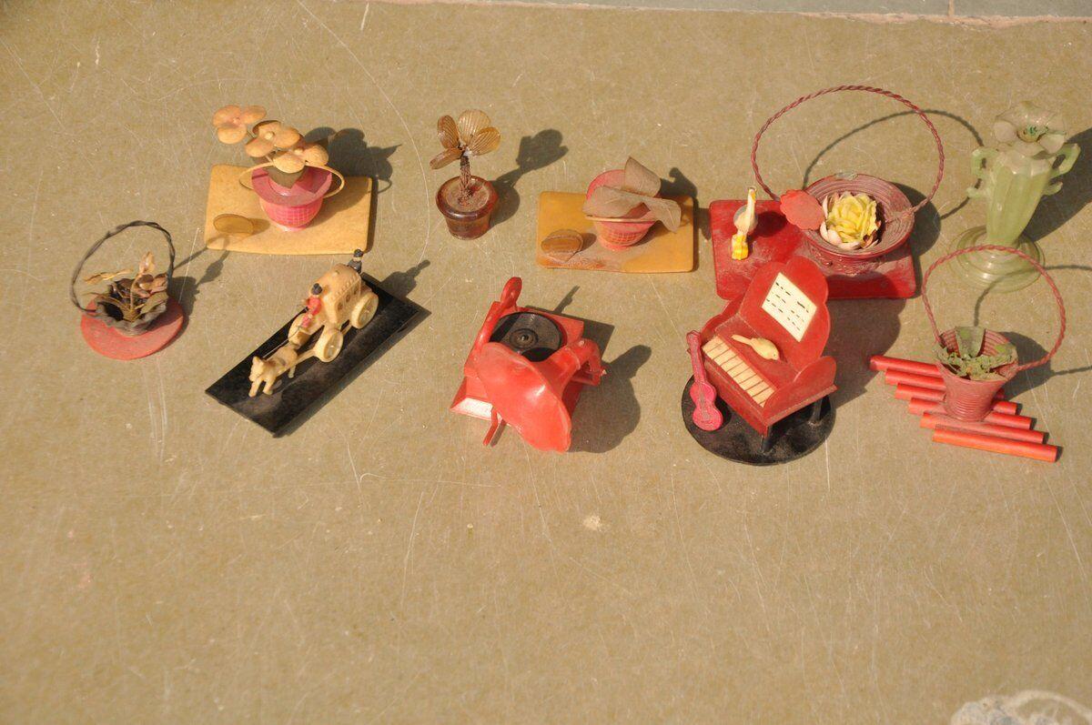 10 piezas de colección Celuloide Baquelita diferentes muñeca casa decorativos juguetes, Japón