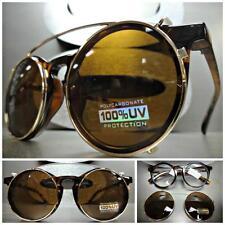 CLASSIC VINTAGE RETRO Style Clear Lens CLIP ON SUN GLASSES Tortoise & Gold Frame