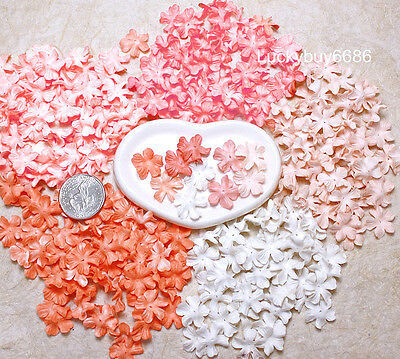 100 Mini Petal Orange Peach Tone 20mm Scrapbook Craft Mulberry Paper Flower Card