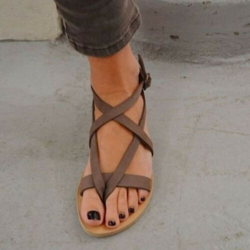 Damen Flach Sandalen Schuhe Sommer Espadrilles Riemchensandalen Zehentrenner Neu