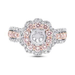 14k-Oro-Fantasia-Rosa-Diamante-Redondo-Semi-Soporte-Compromiso-Anillo-Montaje
