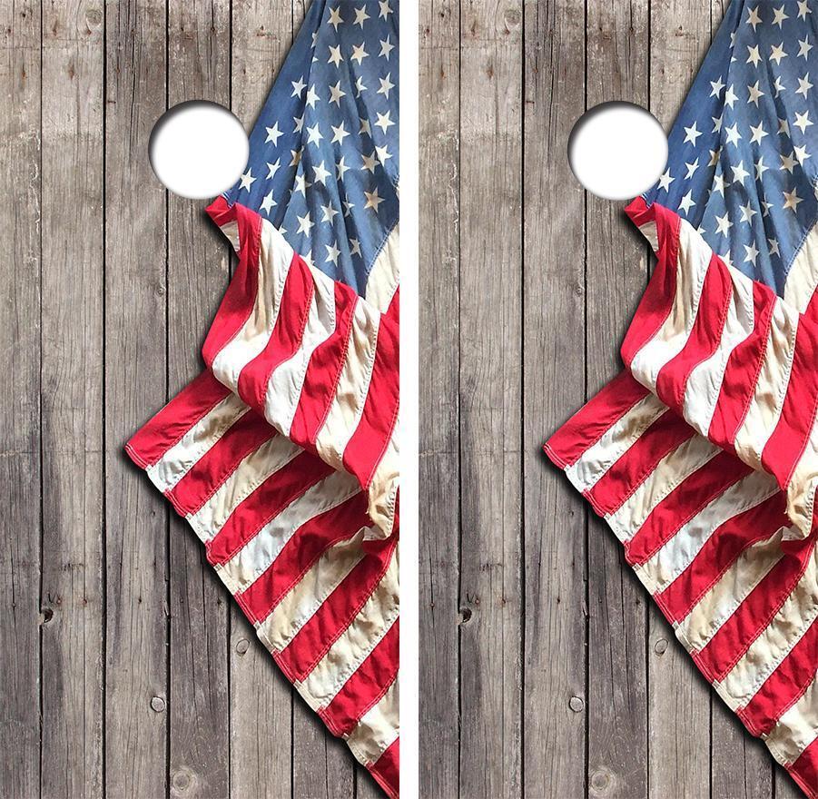 American Flag Cornhole Board Skin Wrap FREE Laminate