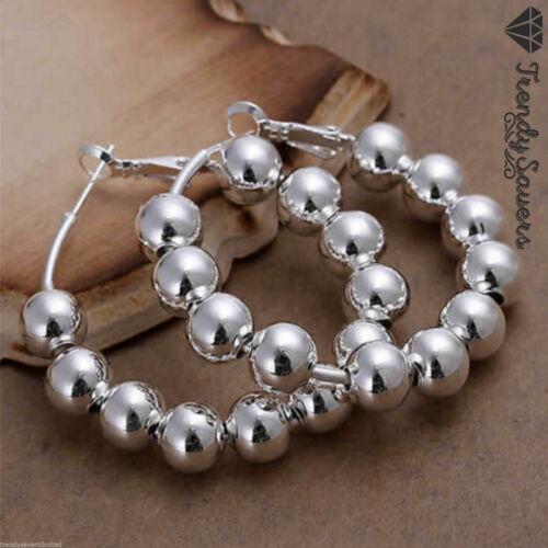 Trendy De Mujer Plata Esterlina 925 lleno de bola grano Aro Pendientes #26