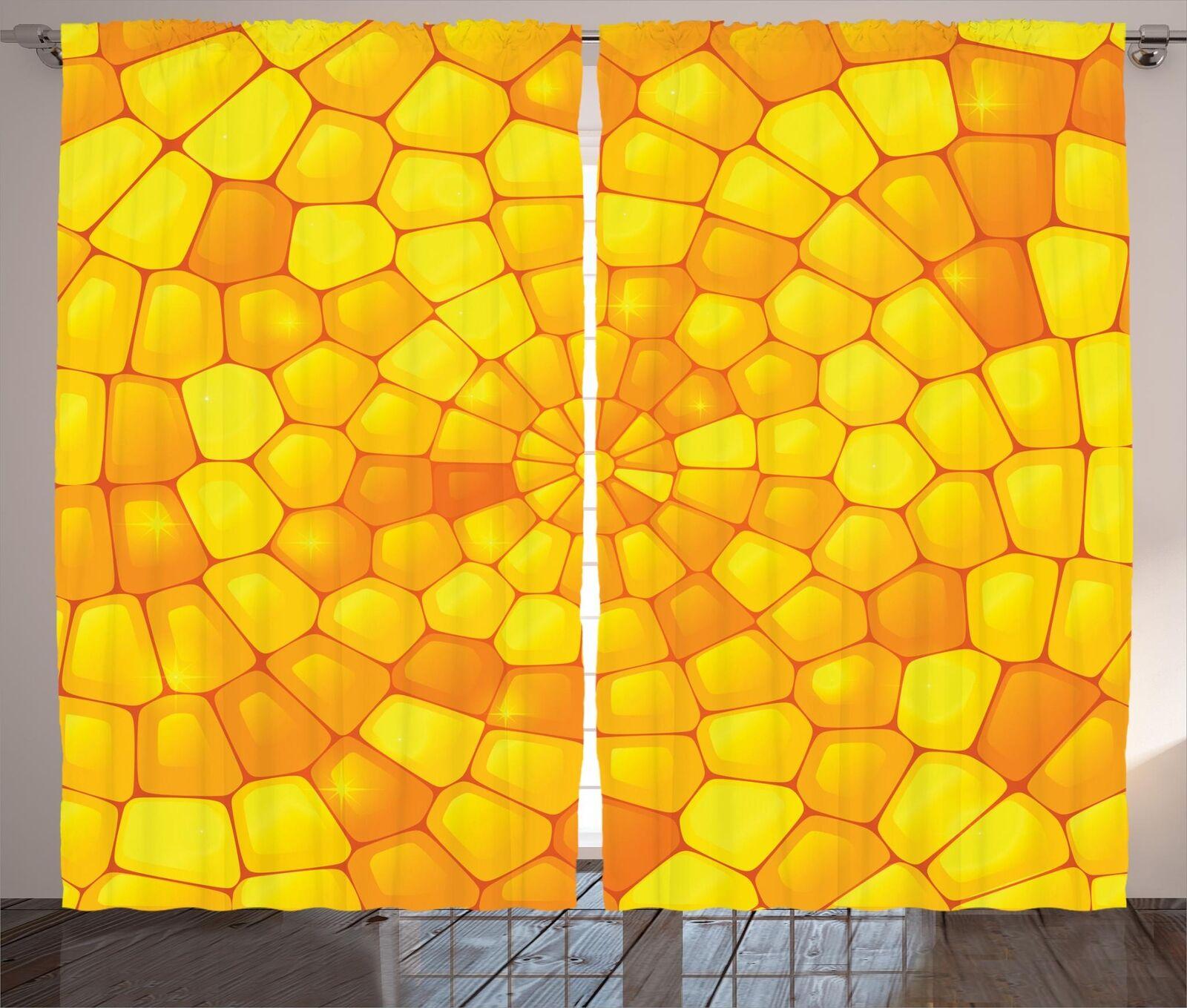 Cortinas de Colors amarillo 2 Panel Decoración conjunto 5 tamaños de ventana Cortinas ambesonne