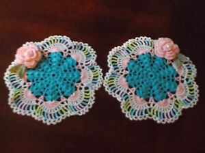NEW Hand Crochet Doilies Peacock & Pink Flowers Pearls SET OF TWO