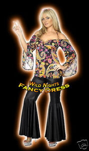 70-039-S-FANCY-DRESS-COSTUME-BLACK-HIPPIE-TOP-FLARES-XL-20-22