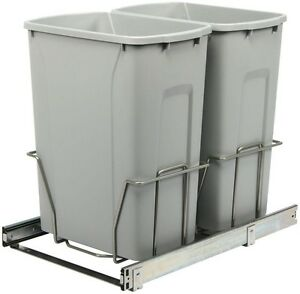 Details about In-Cabinet Double Pull-Out Trash Can 35 Qt. Steel Kitchen  Recycling Waste Bin