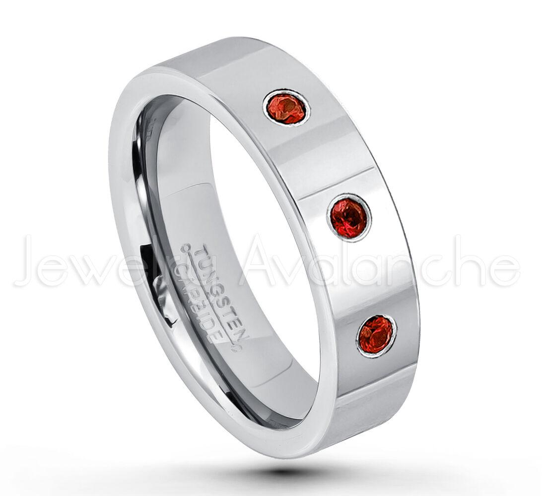 0.21ctw Garnet 3-Stone Ring, January Birthstone Ring,Pipe Cut Tungsten Ring