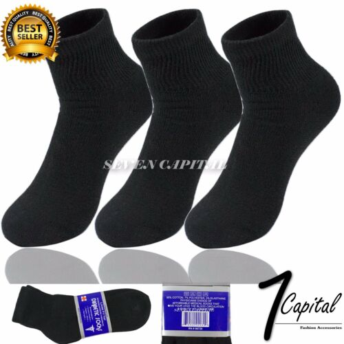 3 6 12 Douzaine De Paires Noir Diabétique Cheville Santé Assistance circulatoire Coton Chaussettes