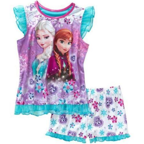 Disney Frozen ELSA ANNA Poly Pajama PJ/'s Sleepwear Shirt//Short Set 2pc Girls-NEW