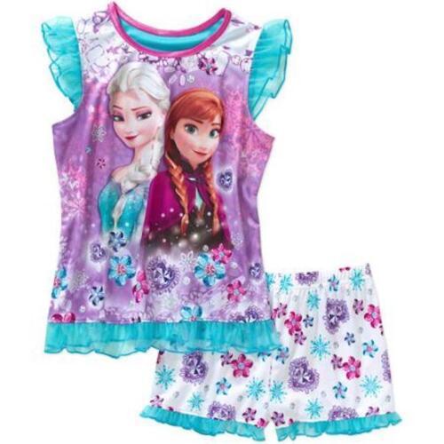 Disney Frozen ELSA ANNA Poly Pajama PJ/'s Sleepwear Shirt//Short Set 2pc Girls-NEW