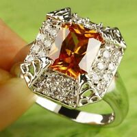 Bling Rings Emerald Cut Morganite & White Topaz Gemstone Silver Ring Size 10 (T)