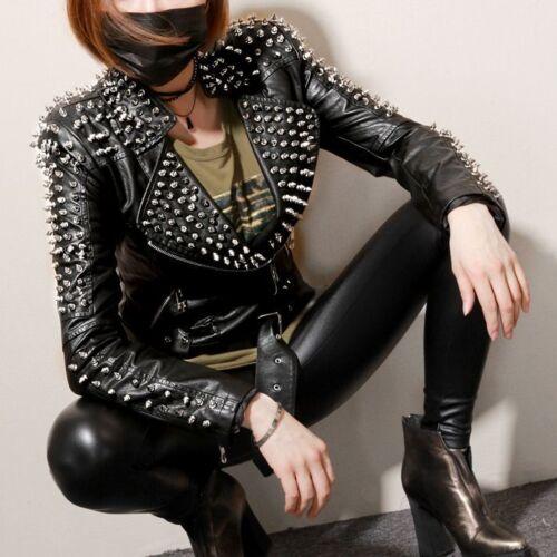 New Womens Punk Spike Studded Shoulder PU Leather Jacket Coat Motorcycle @
