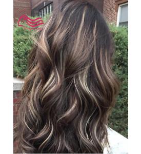 100% Real hair! New Fashion Sexy Women's Medium Long Brown Wavy Human Hair Wigs