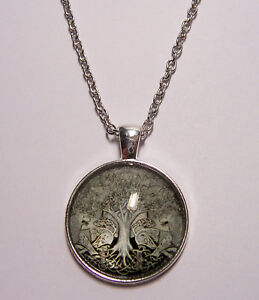 Tree-of-Life-Design-5-Cabochon-Pendant-Necklace-w-Chain-Unique-Jewelry-Gift