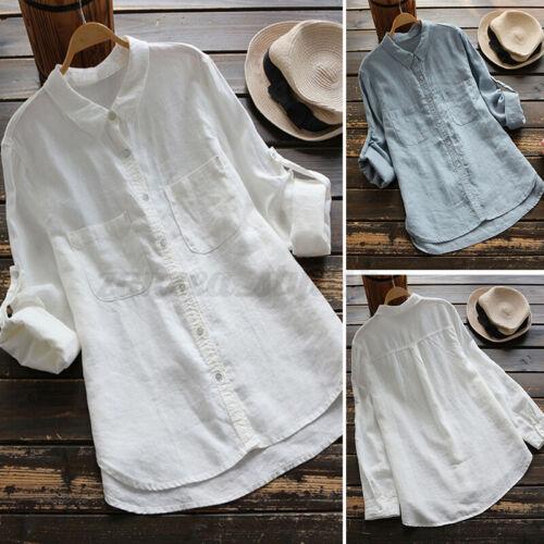 Damen Kragen Bluse Top Long Arm Knopf Baumwolle Lässig Plain Linen Shirt Hemd