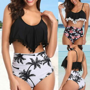 Femme-Bikini-2-Pieces-Maillot-de-Bain-Taille-Haut-Floral-Ruffle-Plage-Vetement